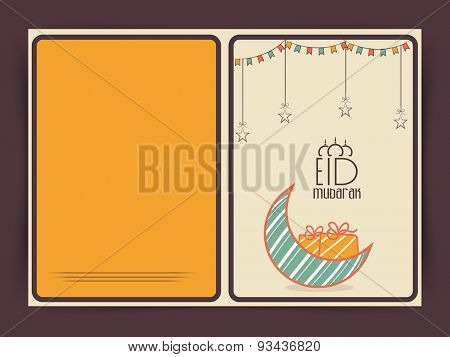 Muslim community festival, Eid Mubarak celebration greeting card with colorful creative moon and gift.