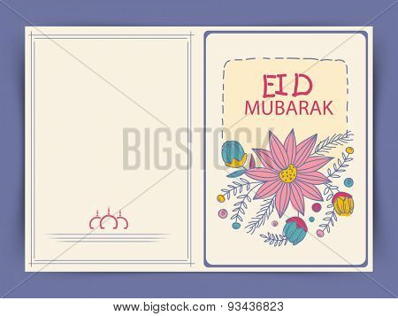 Colorful flowers decorated greeting card design for muslim community festival, Eid Mubarak celebration.