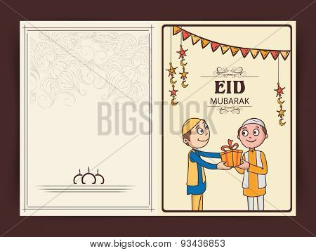 Muslim community festival, Eid Mubarak celebration greeting card with illustration of muslim boys giving gifts to each other.