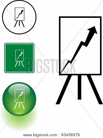 positive chart symbol sign and button