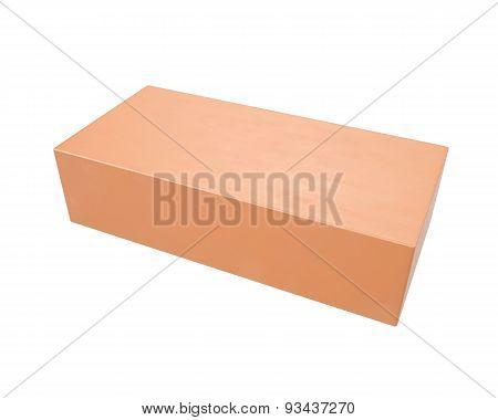 Red clay brick isolated on a white background .