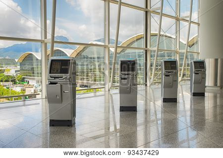 HONG KONG - JUNE 04, 2015: Hong Kong International Airport interior. Hong Kong International Airport is the main airport in Hong Kong. It is located on the island of Chek Lap Kok
