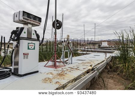 LAKE MEAD, NEVADA, USA - May 9, 2015:  Severe drought damage at Lake Mead's Echo Bay Marina.