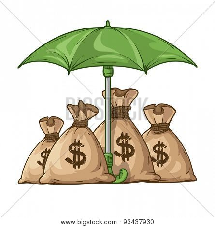 Umbrella protecting sacks with money currency euro. Eps10 vector illustration. Isolated on white background