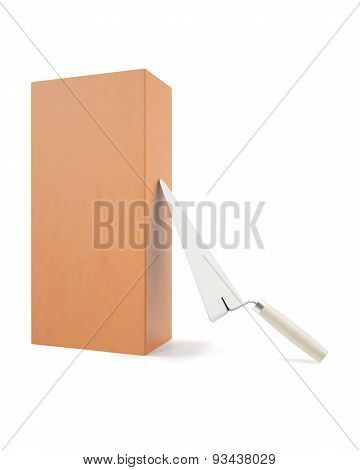 Brick with trowel for construction, erection of buildings.