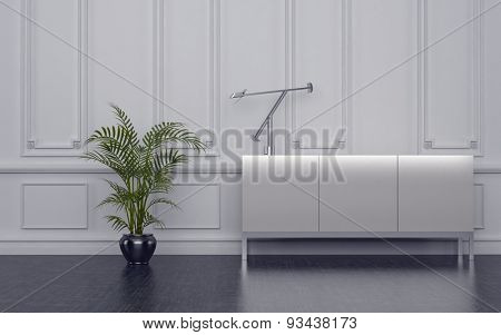 Close-up of sideboard cupboard with potted plant. 3d Rendering.