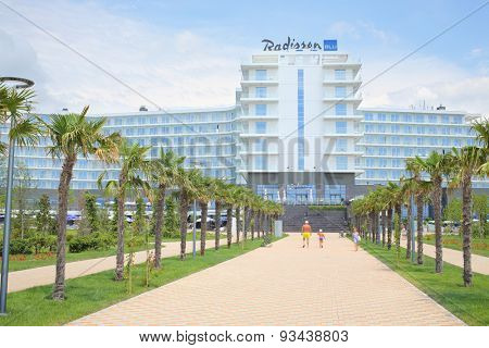 SOCHI, RUSSIA - JUL 25, 2014: Facade of the Hotel Radisson Blu Paradise Resort and Spa in the daytime