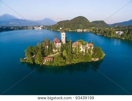 Aerial view of Bled in Slovenia, shot with a drone from the sky.