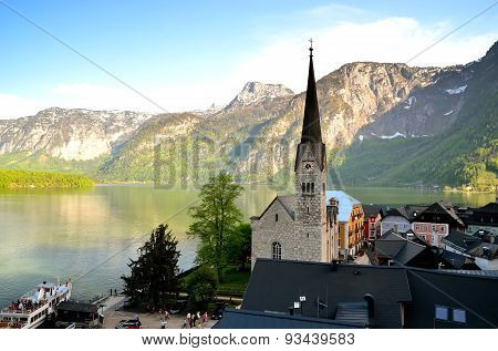 Church in Hallstatt village in Alps Austria.