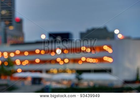 Blurred city skyline at dusk