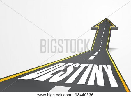 detailed illustration of a highway road going up as an arrow with Destiny text, eps10 vector