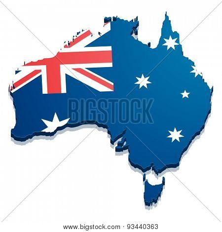detailed illustration of a map of Australia with flag, eps10 vector