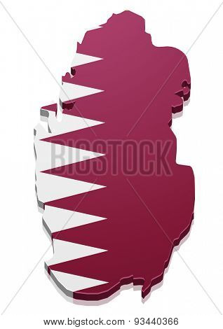 detailed illustration of a map of Qatar with flag, eps10 vector