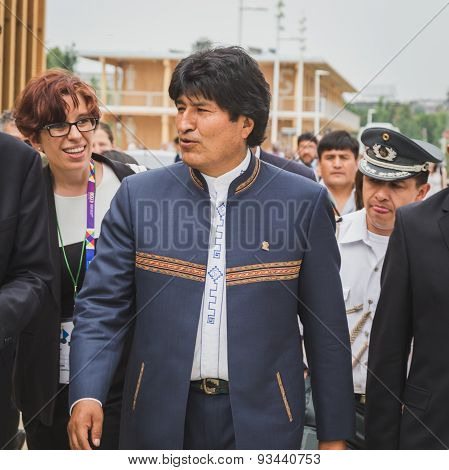 The President Of Bolivia Evo Morales At Expo 2015 In Milan, Italy