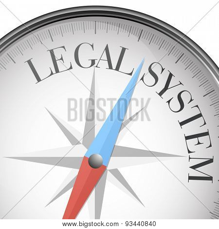 detailed illustration of a compass with legal system text, eps10 vector