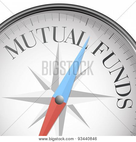 detailed illustration of a compass with mutual funds text, eps10 vector