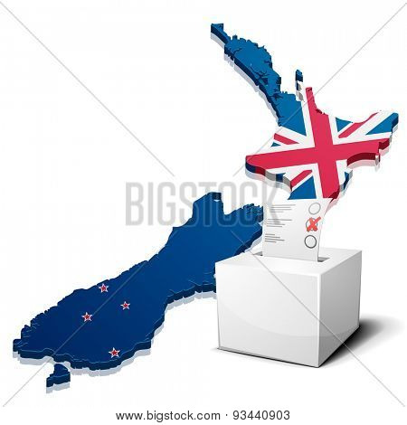 detailed illustration of a ballotbox in front of a map of New Zealand, eps10 vector