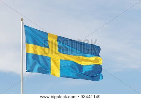 Swedish Flag, Blue And A Yellow Cross
