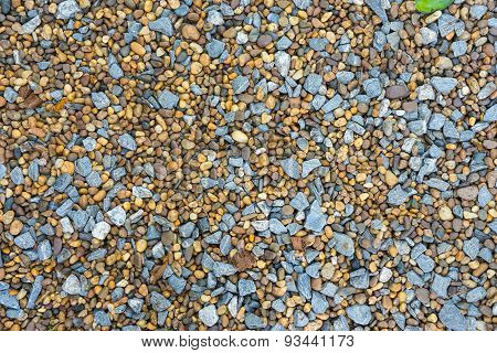 Various Pebble Stones For Background In Top View