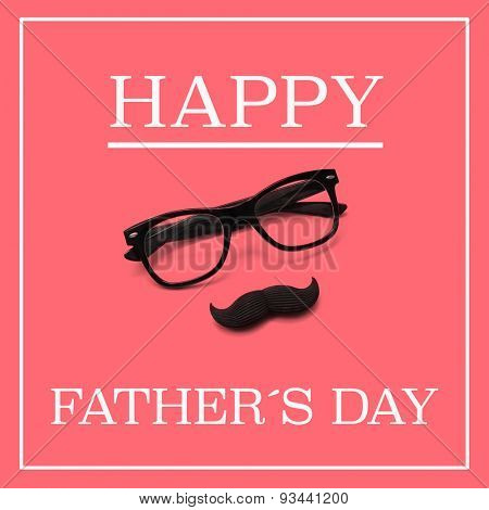 the sentence happy fathers day, and a pair black eyeglasses and a moustache forming a man face in a pink background