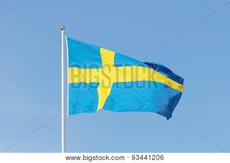 Swedish Flag, Blue And A Yellow Cross, Blue Sky