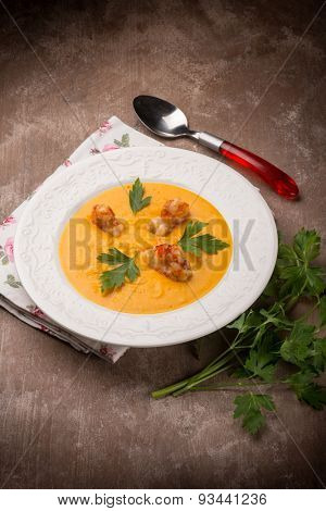 soup with carrot pumpkin and shrimp