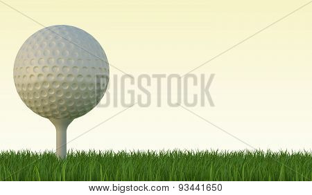 Golf ball on the green lawn, the grass with blue sky.