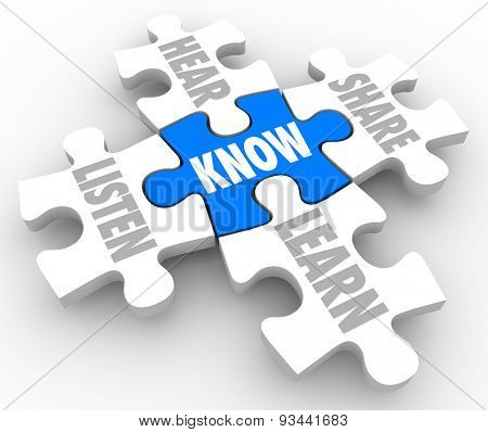Puzzle pieces with words Listen, Hear, Share, Learn and Know to illustrate the process of understanding and education