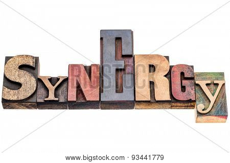 synergy word abstract - isolated text in mixed vintage letterpress wood type printing blocks