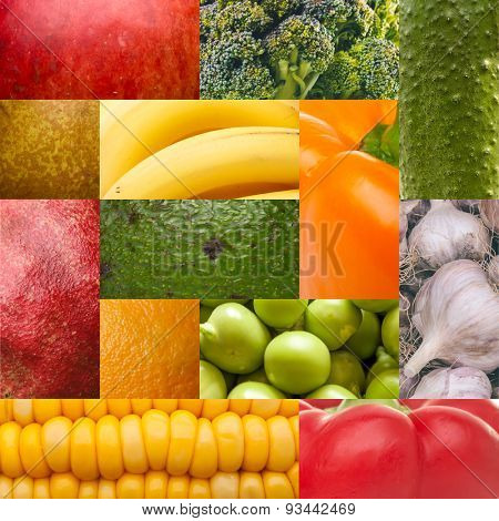 Set texture of natural food: fruit and vegetables