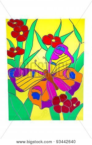 Butterfly and red flowers - stained glass