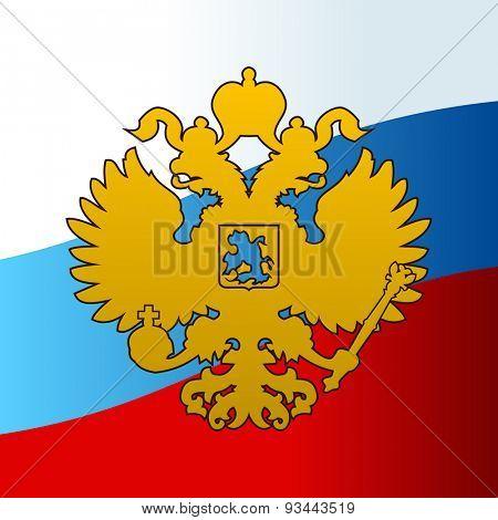 Russian coat arms double-headed eagle emblem. Symbol of empire Russia flag