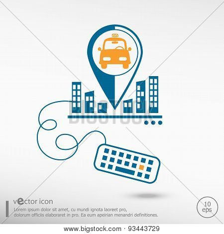 Taxi Icon And Keyboard