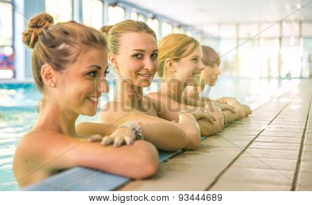 Group Of Girls In The Spa Swimming Pool