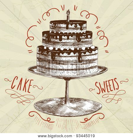 sweet cake sketch illustration