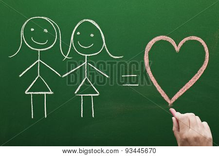 Female homosexual relation concept sketched on green chalkboard