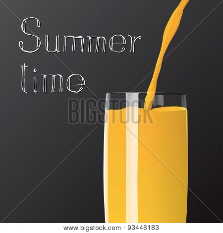 Summer Time Juice Poured In To The Glass