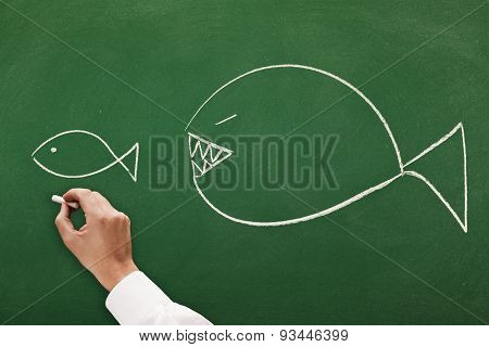 businessman drawing on blackboard concept the big fish eats the small one it's a competitive world
