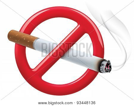 No Smoking Sign Isolated On White. Vector Illustration