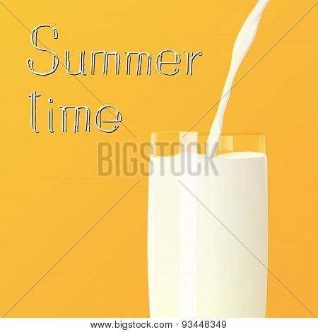 Summer Time Milk Poured In To The Glass