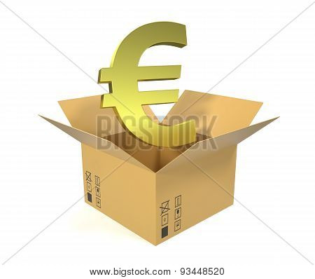 Cardboard box with euro symbol isolated on white background.