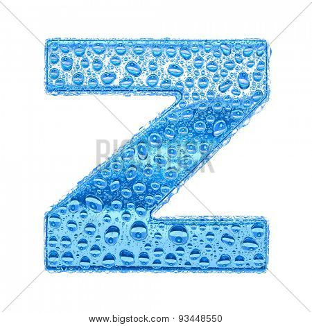 Fresh Blue alphabet symbol - letter Z. Water splashes and drops on transparent glass. Isolated on white