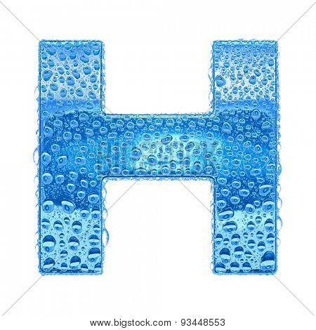 Fresh Blue alphabet symbol - letter H. Water splashes and drops on transparent glass. Isolated on white