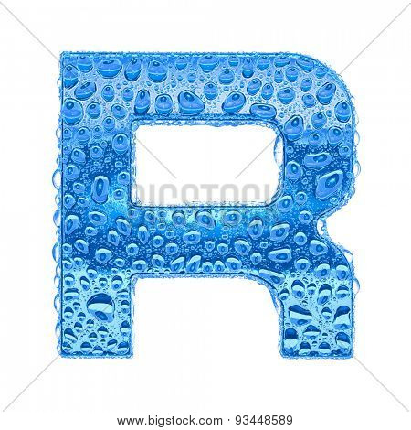 Fresh Blue alphabet symbol - letter R. Water splashes and drops on transparent glass. Isolated on white