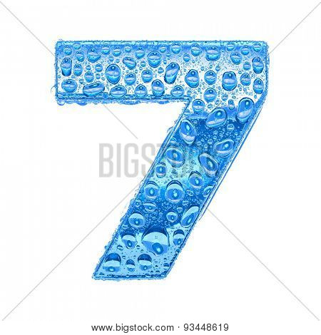 Fresh Blue alphabet symbol - digit 7. Water splashes and drops on transparent glass. Isolated on white
