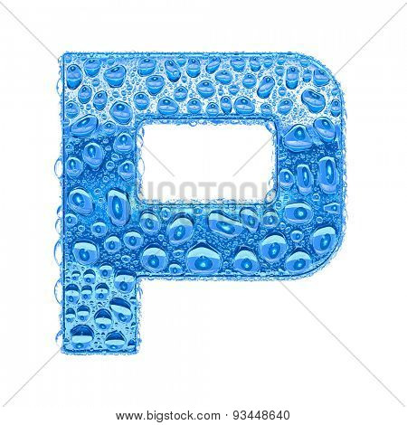 Fresh Blue alphabet symbol - letter P. Water splashes and drops on transparent glass. Isolated on white