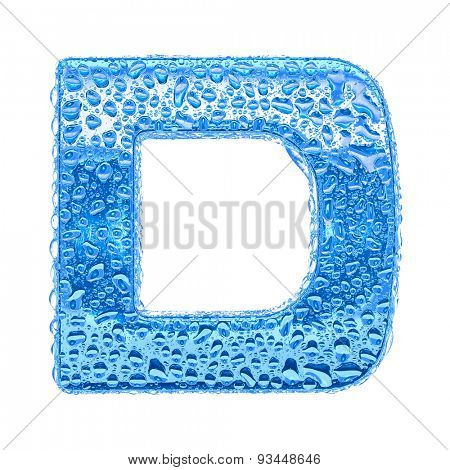 Fresh Blue alphabet symbol - letter D. Water splashes and drops on transparent glass. Isolated on white