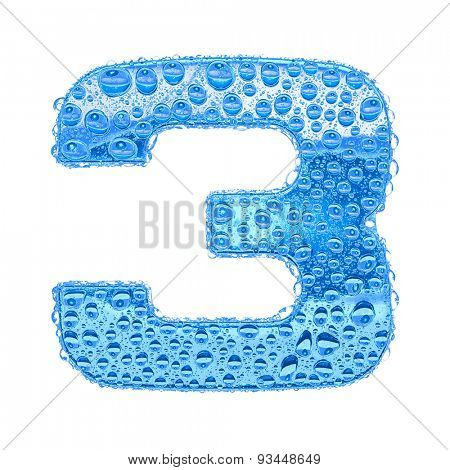 Fresh Blue alphabet symbol - digit 3. Water splashes and drops on transparent glass. Isolated on white