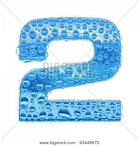 Fresh Blue alphabet symbol - digit 2. Water splashes and drops on transparent glass. Isolated on white