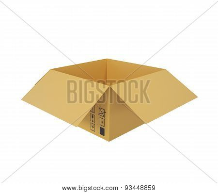 Open cardboard box for shipping goods.
